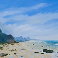 North Cornwall beach original oil painting by Huldrick.