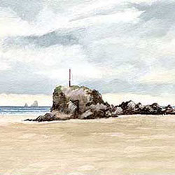 Original watercolour painting by Hastings artist Jon 'Huldrick' Wilhelm.
