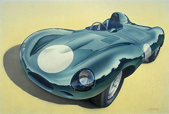 Jaguar D-Type original painting by Huldrick