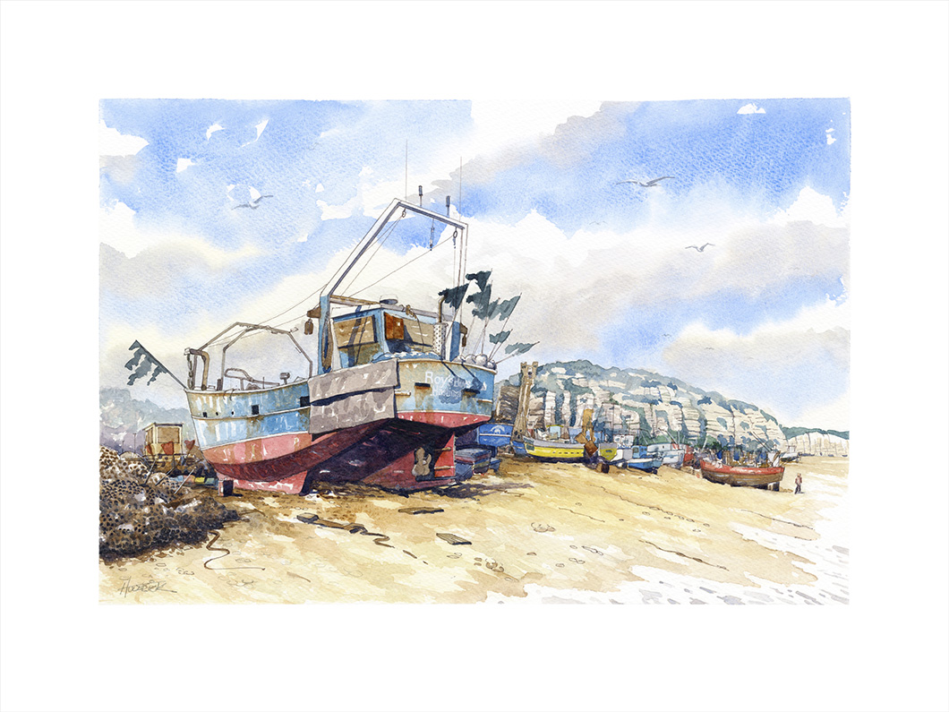Limited edition print from original watercolour by Hastings artist Huldrick.