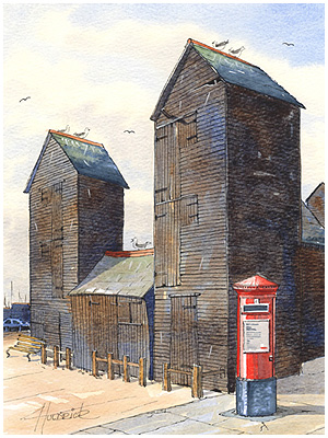 Original watercolour of Hastings Stade by Hastings artist Jon 'Huldrick' Wilhelm.