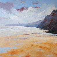 Perranporth Beach original painting oil on canvas by Huldrick