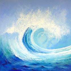 Original wave painting, acrylic on canvas, by Hastings artist Jon 'Huldrick' Wilhelm.