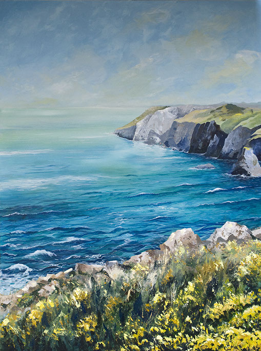 Between Perranporth and St Agnes original acrylic painting by Jon 'Huldrick' Wilhelm.